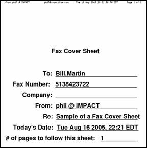 copy of a fax cover sheet